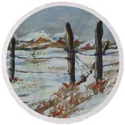 Old Fences Round Beach Towel