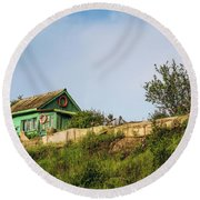 Old Fisherman's House On The Hill Round Beach Towel