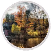 Old Mill Boards Round Beach Towel