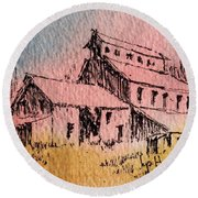 Old Mill Cable Ghost Town Montana_ Round Beach Towel