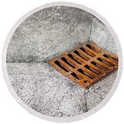 Old Rusty Street Grate Near The Sea In Cres Round Beach Towel