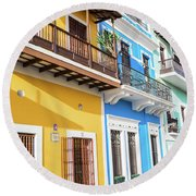 Old San Juan Houses In Historic Street In Puerto Rico Round Beach Towel