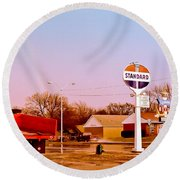Old Signs At The Mother Road - Standard Oil And Motel - Route 66 Round Beach Towel