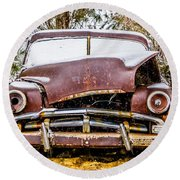 Old Vintage Plymouth Automobile In The Woods Covered In Snow Round Beach Towel