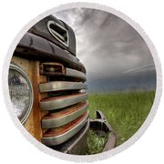 Old Vintage Truck On The Prairie Round Beach Towel