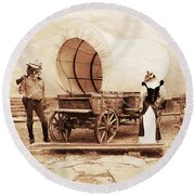 Old West Cats  Round Beach Towel