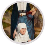 Old Woman At Prayer With St. Anne Round Beach Towel