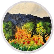 Olive Trees And Poppies  Round Beach Towel