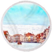 On A Boat Trip On The Grand Canal In The Beautiful City Of Venice In Italy Round Beach Towel