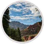 On The Road To Red Rocks  Round Beach Towel