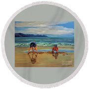 On The Seashore Of Endless Worlds Children Meet  Round Beach Towel