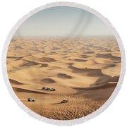One 4x4 Vehicle Off-roading In The Red Sand Dunes Of Dubai Emirates, United Arab Emirates Round Beach Towel