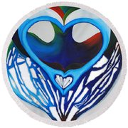 Open Heart Round Beach Towel