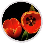 Orange Tulip Macro Round Beach Towel