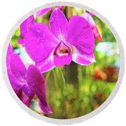 Orchid Oil Painting Round Beach Towel