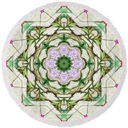 Orchids And Stone Wall Kaleidoscope 1764 Round Beach Towel