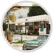 Out Of Gas Round Beach Towel