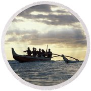 Outrigger Canoe Round Beach Towel