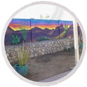 Outside Mural Round Beach Towel