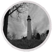Overcast Lighthouse Round Beach Towel