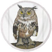 Owl In Pose Round Beach Towel