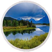 Oxbow Bend Storm Clouds Round Beach Towel