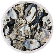 Oyster Shells Round Beach Towel
