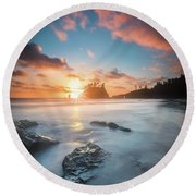 Pacific Sunset At Olympic National Park Round Beach Towel