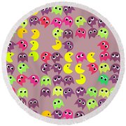 Pacman Seamless Generated Pattern Round Beach Towel