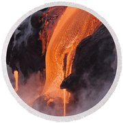Pahoehoe Lava Flow Round Beach Towel