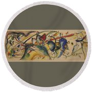 Painting With White Border Round Beach Towel