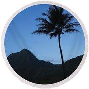 Palm And Blue Sky Round Beach Towel