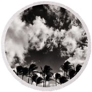 Palms Blowing In The Wind Round Beach Towel