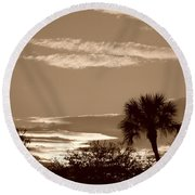 Palms In The Clouds Round Beach Towel