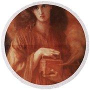 Pandora Round Beach Towel by Dante Charles Gabriel Rossetti