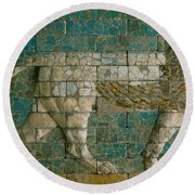 Panel With Striding Lion Round Beach Towel