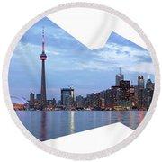 Panorama Of The City Of Toronto Round Beach Towel