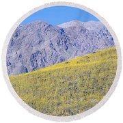 Panoramic View Of Desert Gold Yellow Round Beach Towel