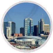 Panoramic View Of Nashville, Tennessee Round Beach Towel