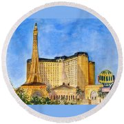 Paris Hotel And Casino Round Beach Towel