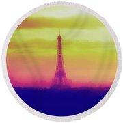 Paris Through The Haze Round Beach Towel