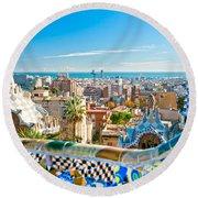 Park Guell Barcelona Round Beach Towel