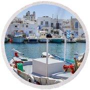 Paros - Cyclades - Greece Round Beach Towel by Joana Kruse