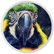 Parrot Art  Round Beach Towel