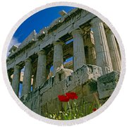 Parthenon With Poppies Round Beach Towel