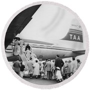 Passengers Boarding Airplane Round Beach Towel