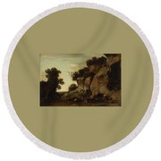 Pastoral Scene At The Cave Round Beach Towel