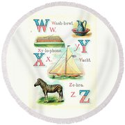 Patriot Abc Book  Page Twelve Round Beach Towel