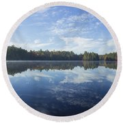 Pauper Lake Reflections Round Beach Towel