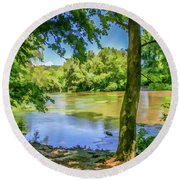 Peaceful On The River Round Beach Towel
